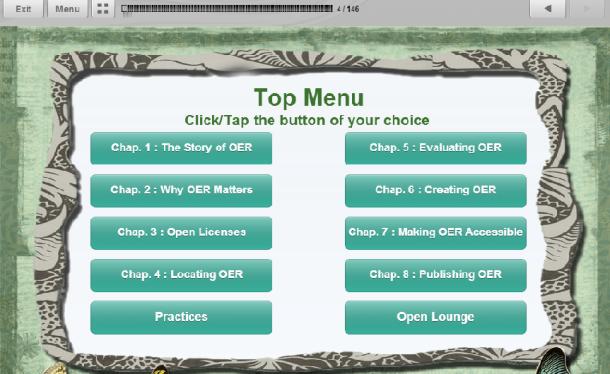 OER course top menu