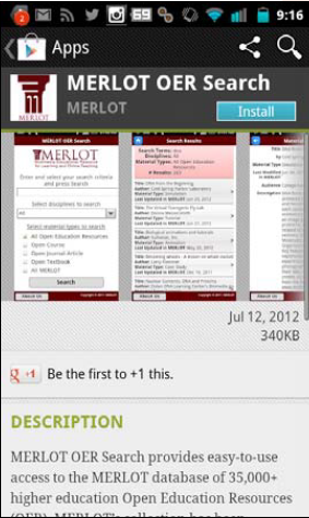 MERLOT OER search mobile app